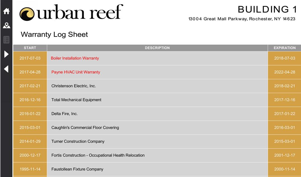 iPad dashboard with warranty log sheet