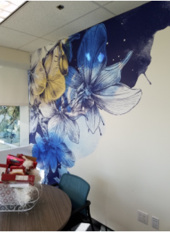 resfreshing office walls with vinyl orchid design
