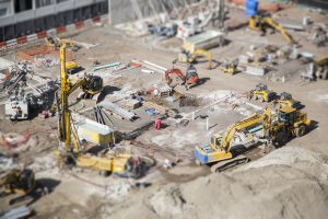 Aerial View of Busy Construction Site