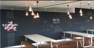 a chalkboard wall in a company lunchroom that employees can write ideas on