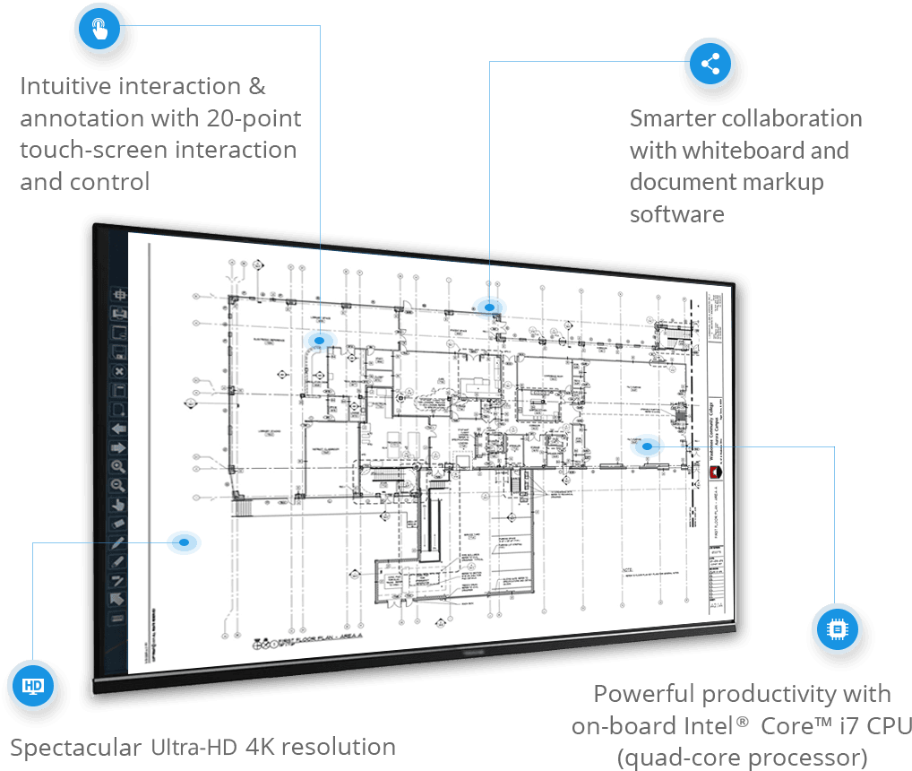 Smart touch screen workstations for architectural drawings