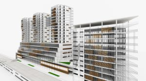 Residential and Office Buildings. Wireframe 3D Render. Scale Model. Architecture.